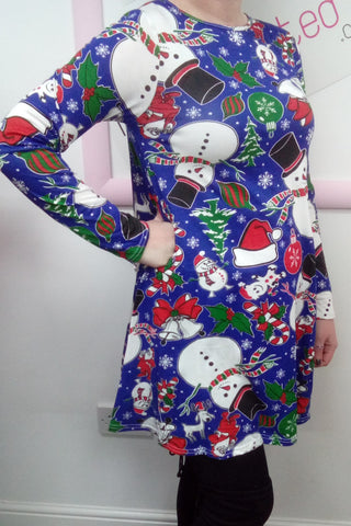 Ladies Snowman Christmas Swing Dress Blue