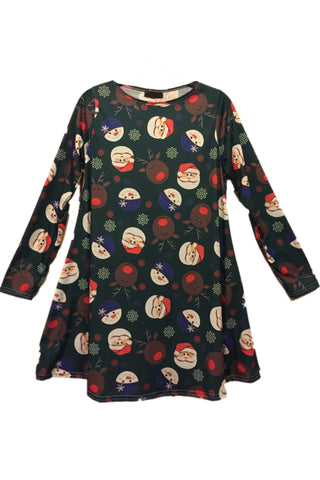 Ladies Snowman and Friends Christmas Dress Green