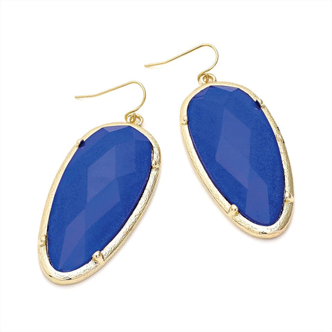 Gold Colour Royal Blue Glitter Effect Oval Shape Earring