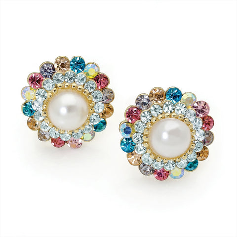 Multi Crystal Cream Pearl Colour Round Clip on Earring