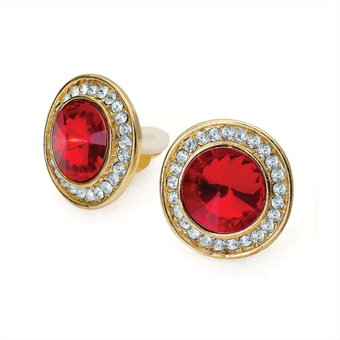 Red Bead and Crystal Clip on Earring