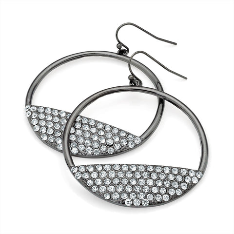 Shiny Hematite Grey Colour Crystal Round Fish Hook Earring