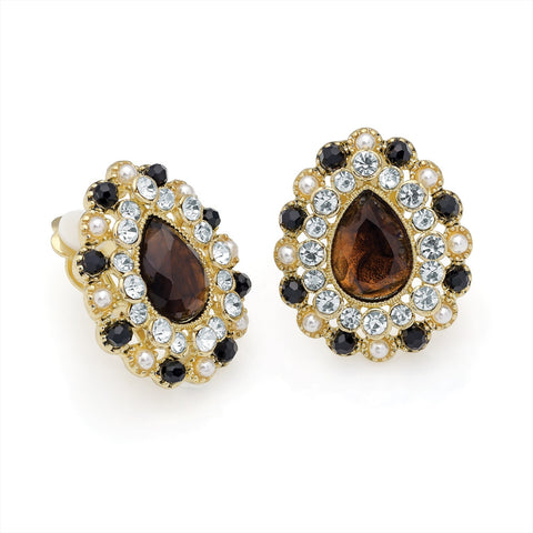 Gold Colour Crystal and Brown Bead Oval Clip on Earring