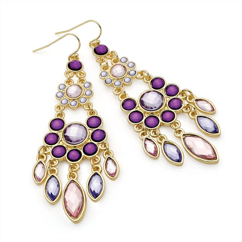 Gold Colour Purple Tone Bead Fish Hook Earring