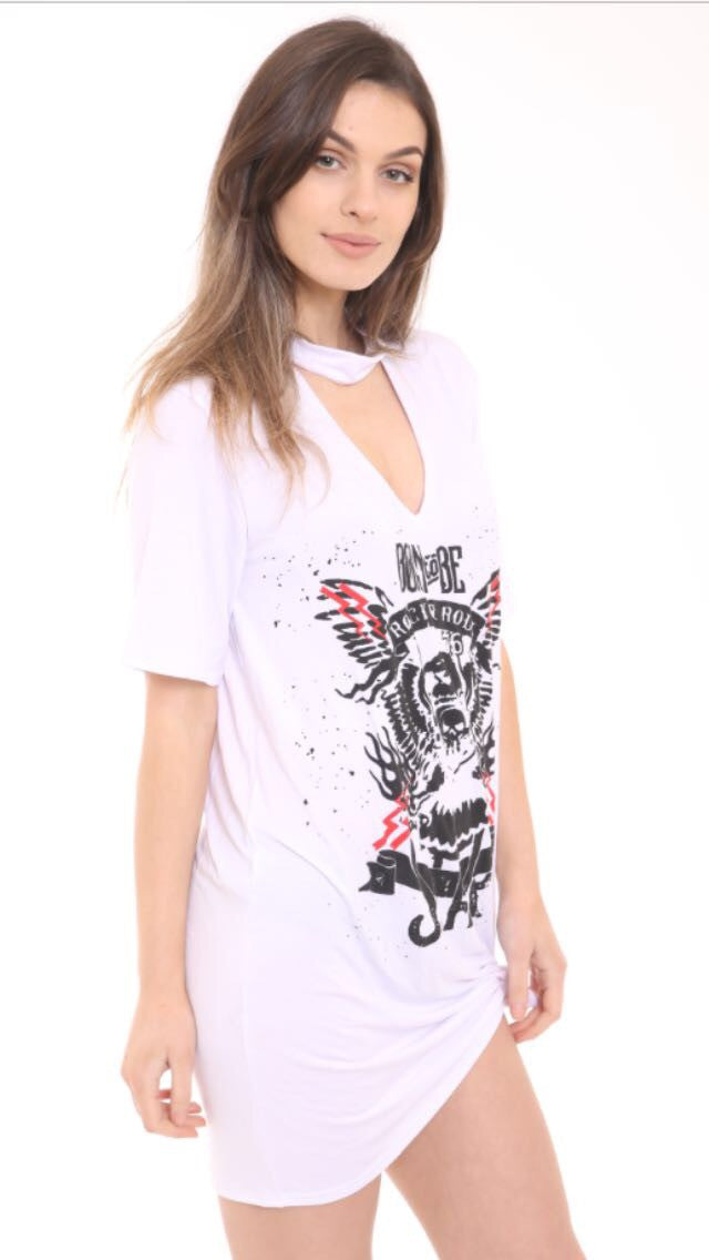 Plus Size Choker Neck Born To Be T-Shirt Dress White