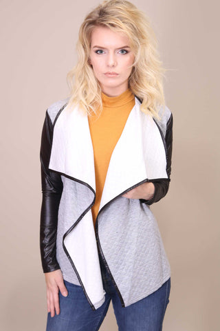 Quilted Waterfall Cardigan Grey