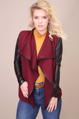 Quilted Waterfall Cardigan Maroon