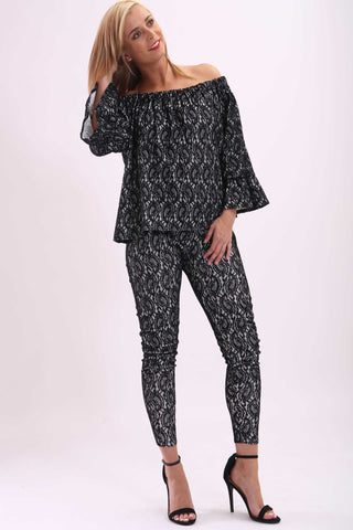 Geri Flared Lace Top Black