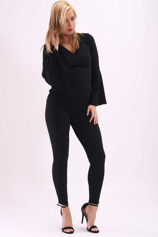 Amelia Bell Sleeve Top Black