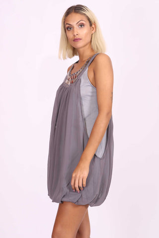Natasha Sequin Dress Grey