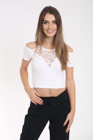 Cold Shoulder Lace Panel Top Cream