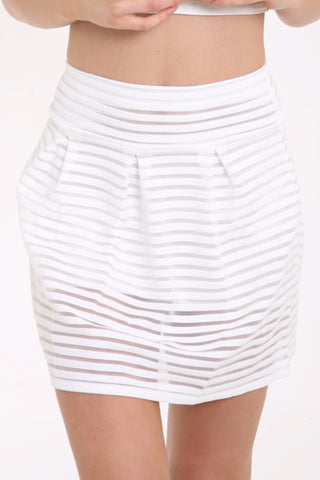 Mesh Stripe Skater Skirt Cream