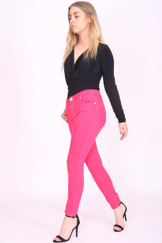 Skinny Stretch Denim Jeans Hot Pink
