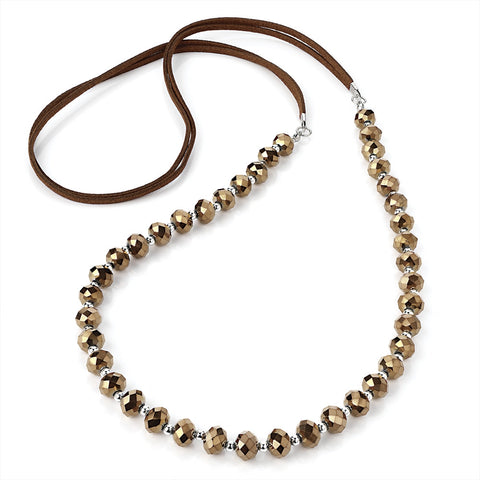 Bronze Colour Glass Bead Cord Necklace