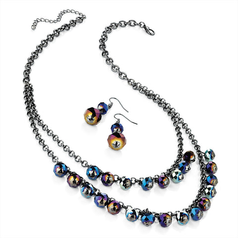 Hematite Effect and Glass Bead Chain Necklace and Earring Set