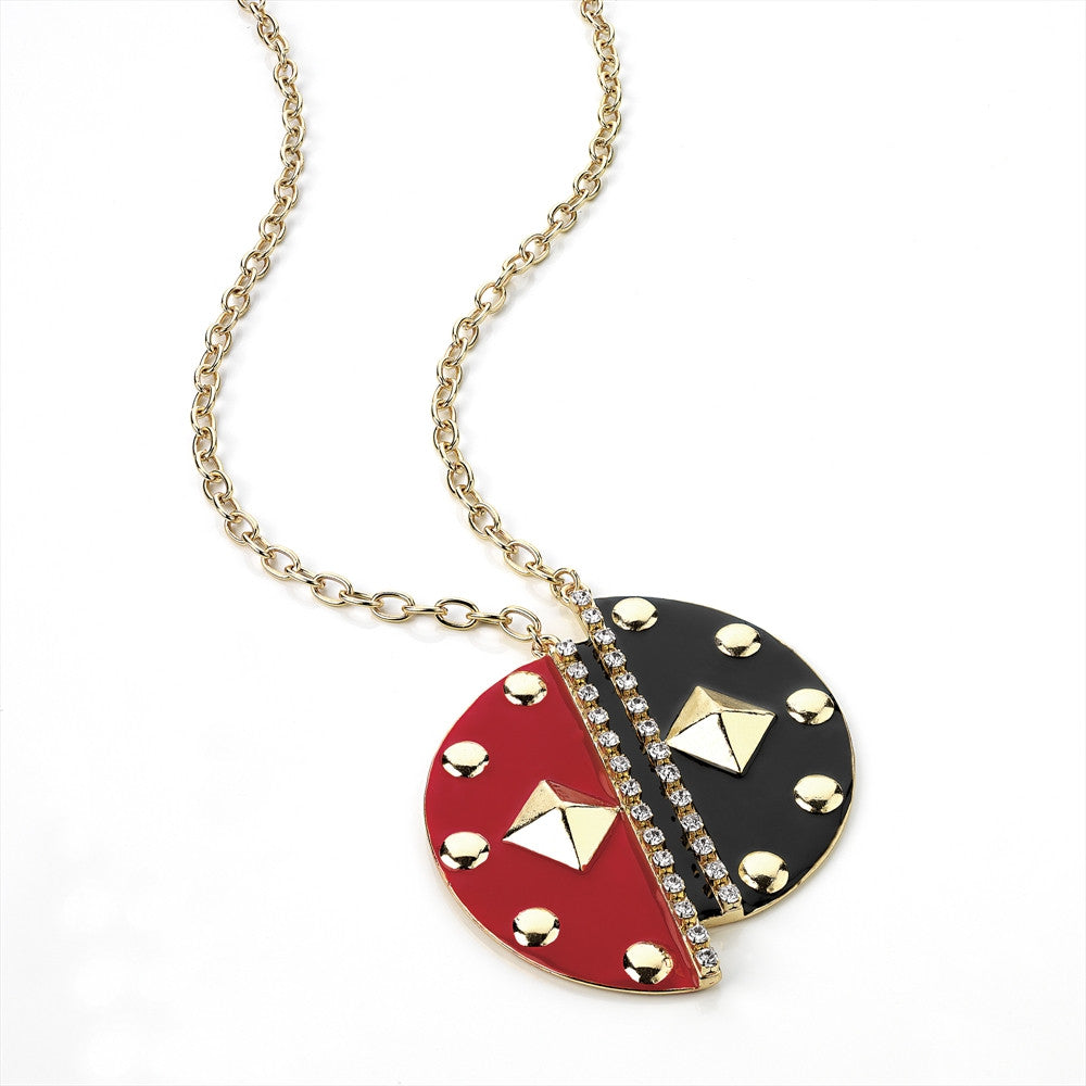 Gold, Crystal, Black and Red Enamel Chain Necklace - Miss Tempted