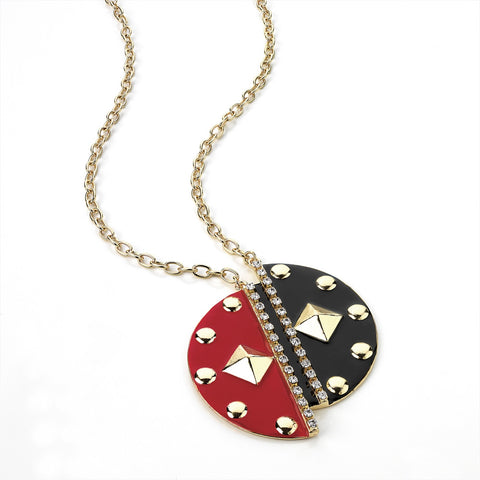 Gold, Crystal, Black and Red Enamel Chain Necklace