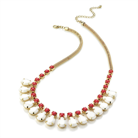 Gold Colour Fuchsia and White Bead Chain Necklace