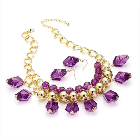 Gold Colour Transparent Purple Bead Chain Necklace and Earring Set