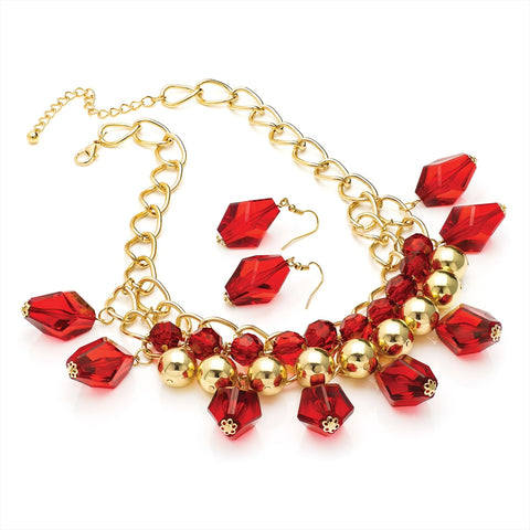 Gold Colour Transparent Red Bead Chain Necklace and Earring Set