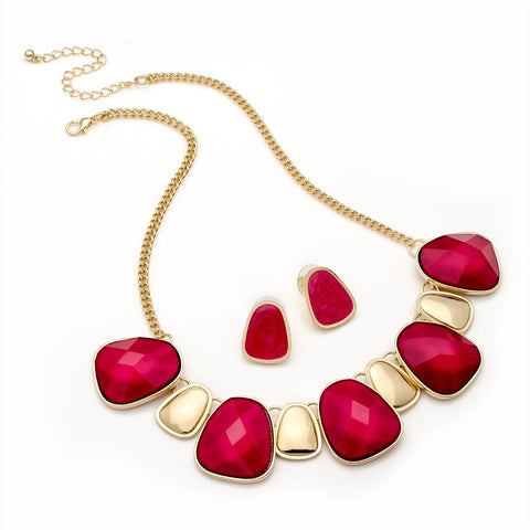 Dark Fucshia Bead Chain Necklace and Earring Set