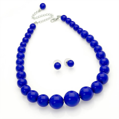 Royal Blue Colour Graduated Bead Necklace and Earring Set