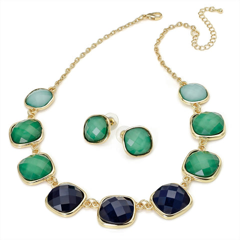 Green Bead Tone Chain Necklace and Earring Set