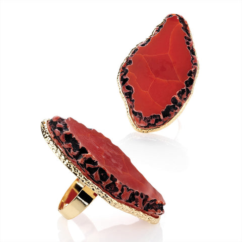 Coral Bead Colour Adjustable Ring