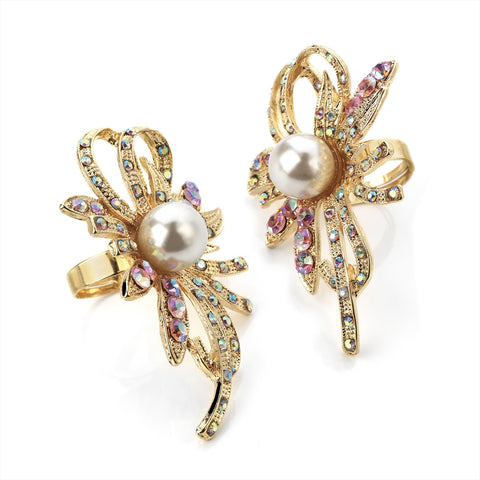 Gold and Cream Pearl Bead Adjustable Ring with Colour Crystal Stones