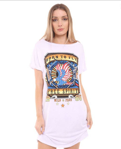 Born To Fly Turn Up Sleeve T-Shirt Dress - White