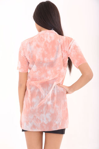 Wild and Free Sheer Tie Dye T-Shirt Dress Coral