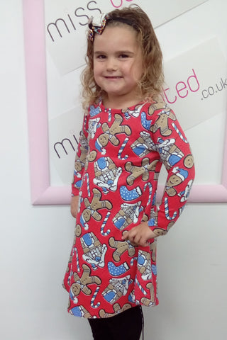 Gingerbread Christmas Swing Dress Kids Red