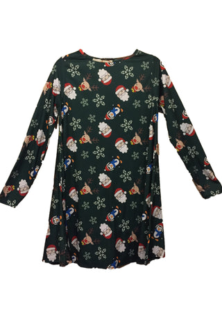 Ladies Santa and Friends Christmas Dress Green