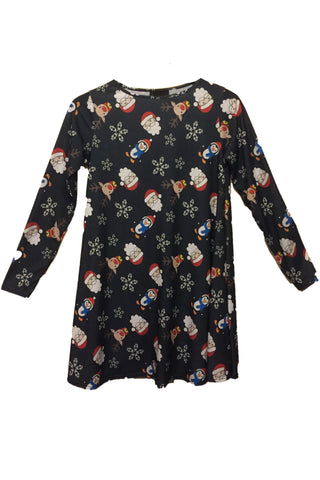 Ladies Santa and Friends Christmas Dress Dark Grey