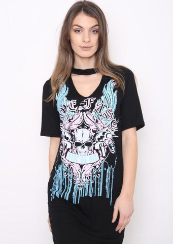 Choker Neck Live Fast Ride Or Die T-Shirt Dress - Black