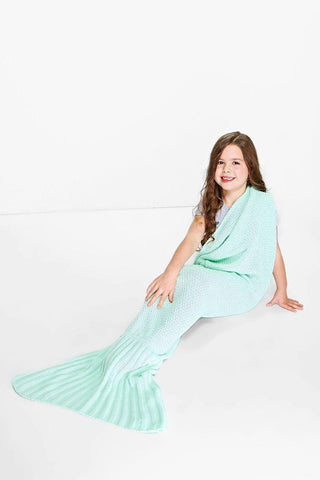 Girls Mermaid Blanket Aqua Blue