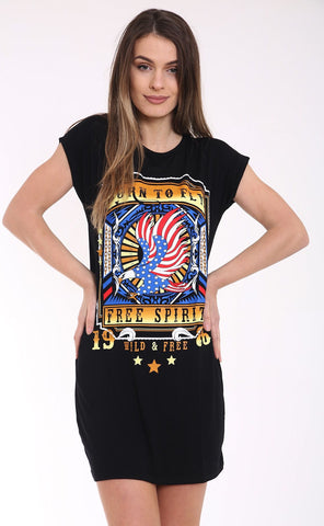 Plus Size Born To Fly Turn Up T-Shirt Dress