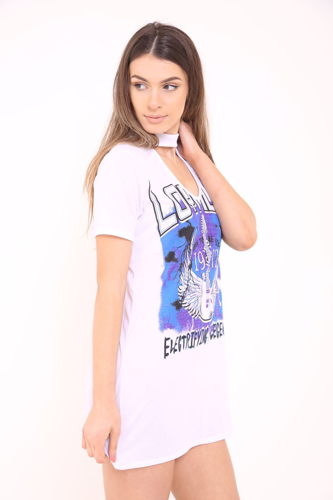 Choker Neck Loyalty T-Shirt Dress White