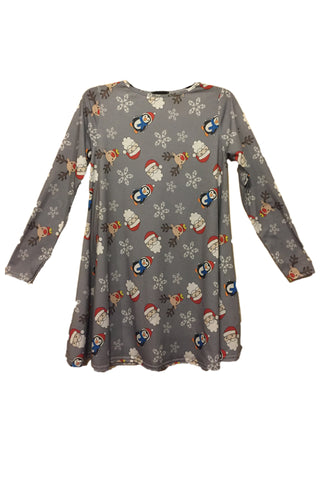 Ladies Santa and Friends Christmas Dress Light Grey