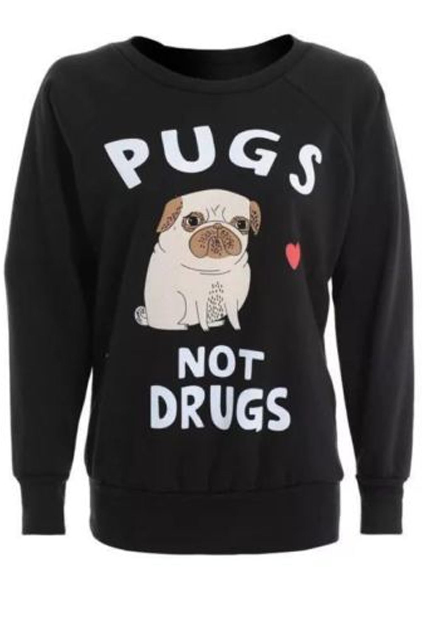 Pugs Not Drugs Sweatshirt Black