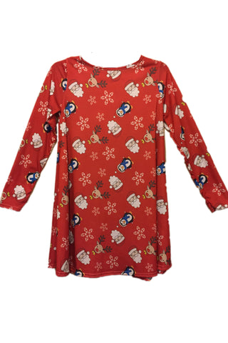 Ladies Santa and Friends Christmas Dress Dark Red
