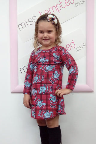 Santa Christmas Swing Dress Kids Red