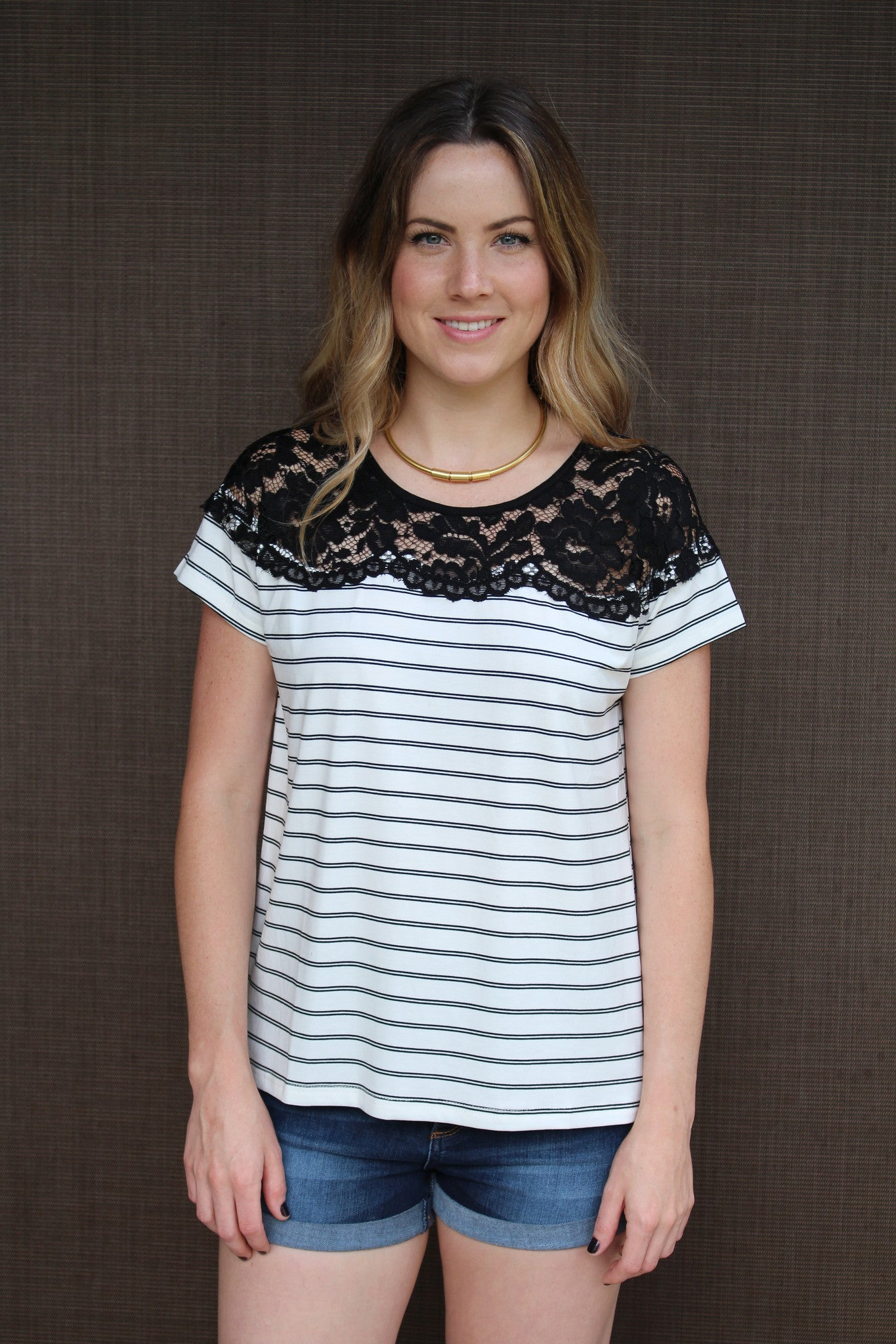 Stripes + Lace Top