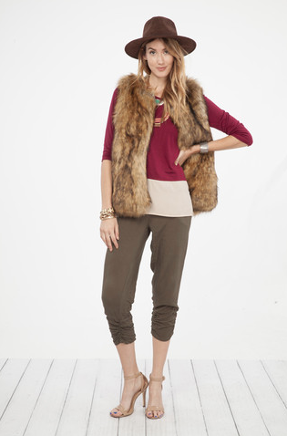 Faux Fur Vest in Taupe