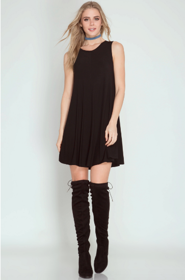Shadow Black Swing Dress