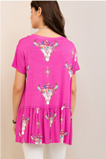 Candy Pink Bull Skull Top