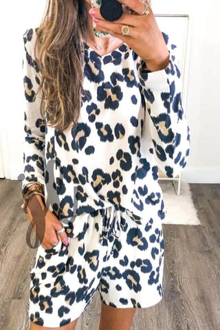 Long Sleeve Leopard Lounge Set