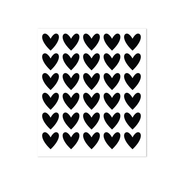 STICKERS - 30 HEARTS - BLACK