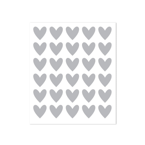 STICKERS - 30 HEARTS - GREY