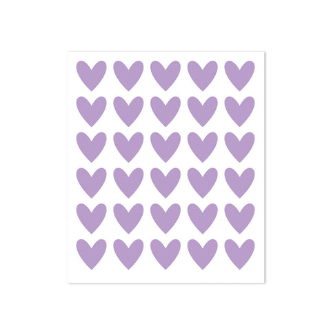 STICKERS - 30 HEARTS - LILAC